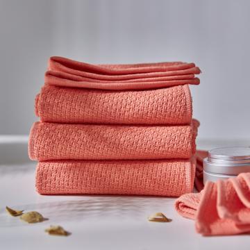 毛浴巾-千丝万缕 千丝万缕香柚红浴巾70*140