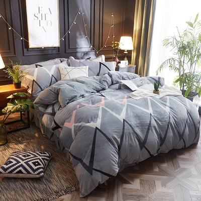 2018新款-美棉绒活性印花系列四件套 2.0m(6.6英尺)床 一往情深