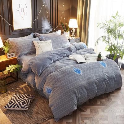 2018新款-美棉绒活性印花系列四件套 2.0m(6.6英尺)床 潮牌时代-灰