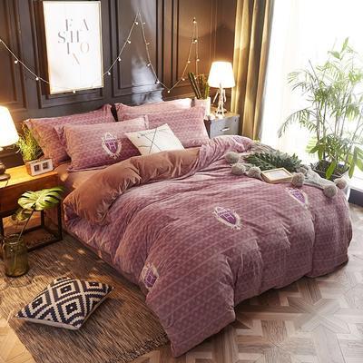 2018新款-美棉绒活性印花系列四件套 2.0m(6.6英尺)床 潮牌时代-咖