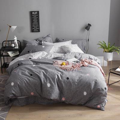 全棉13372四件套 1.2m(4英尺)床(三件套) 波点情调(灰)