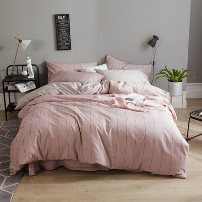 全棉13372四件套 1.2m(4英尺)床(三件套) 浅影(豆沙)