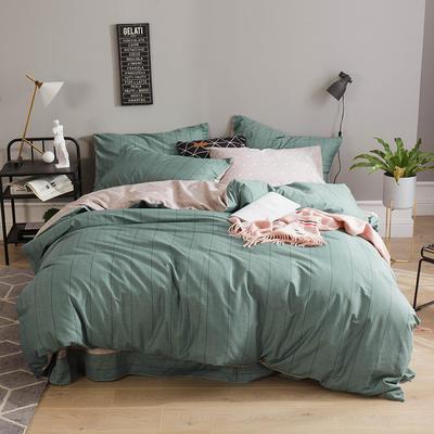 全棉13372四件套 1.2m(4英尺)床(三件套) 浅影(绿)