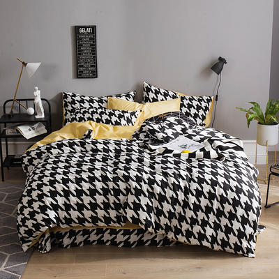 全棉13372四件套 1.2m(4英尺)床(三件套) 千鸟格(黑)
