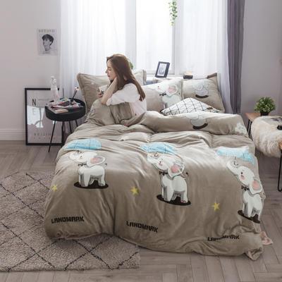 2018新款法兰绒法莱绒四件套 小号1.2m床(三件套) 曼谷小象