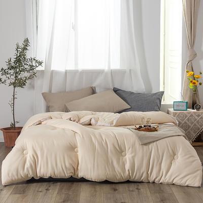 2019新款全棉色纺小提花(淳氧棉)被子被芯 200X230cm  7.5斤 米黄