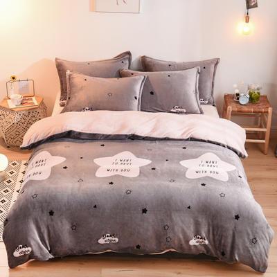 2019新款小版法莱绒四件套 1.2m床单款三件套 想你的夜