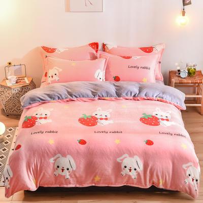 2019新款小版法莱绒四件套 1.2m床单款三件套 草莓兔