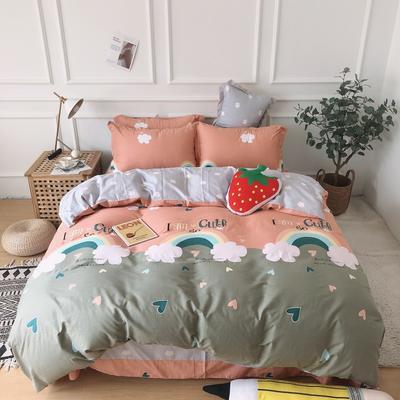 2019新款-全棉13070四件套 1.2m床(床单款三件套) 彩虹城堡