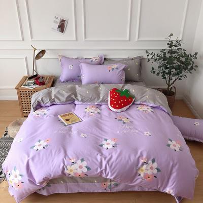 2019新款-全棉13070四件套 1.2m床(床单款三件套) 花晨-紫
