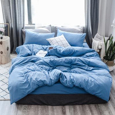 2019新款水洗棉四件套(大图请到门市拷贝) 1.2m三件套 魅惑蓝
