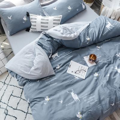 2019新款水洗棉四件套(大图请到门市拷贝) 1.2m三件套 森林乐园