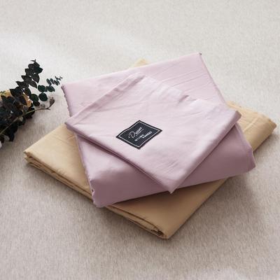 【2019新款-纯棉素色系列套件】全棉纯色四件套学生单人三件套 1.2m床单款三件套 豆沙+驼色