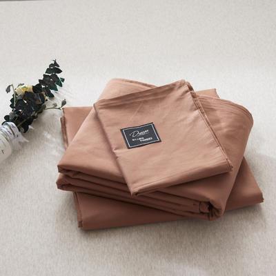 【2019新款-纯棉素色系列套件】全棉纯色四件套学生单人三件套 1.2m床单款三件套 咖啡