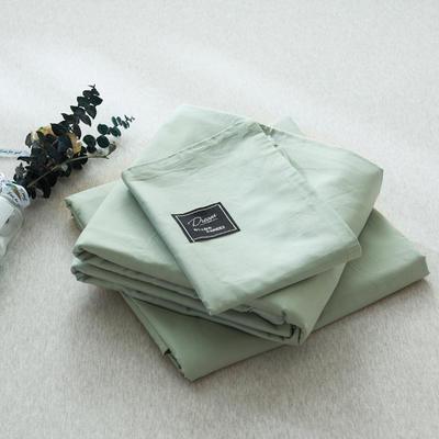 【2019新款-纯棉素色系列套件】全棉纯色四件套学生单人三件套 1.2m床单款三件套 浅绿