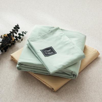 【2019新款-纯棉素色系列套件】全棉纯色四件套学生单人三件套 1.2m床单款三件套 浅绿+驼色