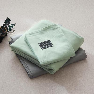 【2019新款-纯棉素色系列套件】全棉纯色四件套学生单人三件套 1.2m床单款三件套 浅绿+银灰