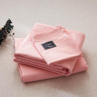 【2019新款-纯棉素色系列套件】全棉纯色四件套学生单人三件套 1.2m床单款三件套 肉粉