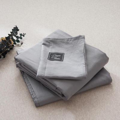 【2019新款-纯棉素色系列套件】全棉纯色四件套学生单人三件套 1.2m床单款三件套 银灰