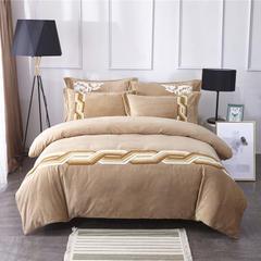 真绒生活馆专业高端保暖面料冰岛绒毛巾绣系列-雅意-驼 1.5m(5英尺)床 凌动-驼