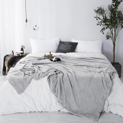 纯色法莱绒毛毯 200X230 灰色