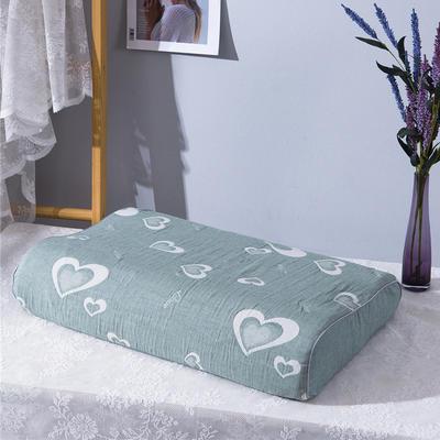 2020新款R01-全棉双层水洗棉提花乳胶枕枕套 50*30*9*7cm/只 心连心-绿