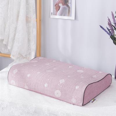 2020新款R01-全棉双层水洗棉提花乳胶枕枕套 50*30*9*7cm/只 珠联璧合-豆沙