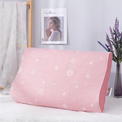 2020新款R01-全棉双层水洗棉提花乳胶枕枕套 50*30*9*7cm/只 珠联璧合粉