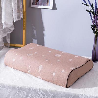 2020新款R01-全棉双层水洗棉提花乳胶枕枕套 50*30*9*7cm/只 珠联璧合-咖