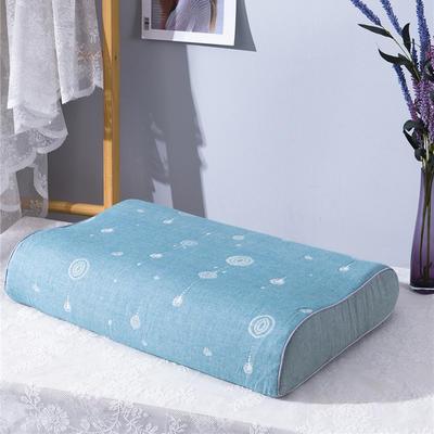 2020新款R01-全棉双层水洗棉提花乳胶枕枕套 50*30*9*7cm/只 珠联璧合-绿