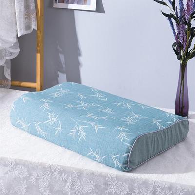 2020新款R01-全棉双层水洗棉提花乳胶枕枕套 50*30*9*7cm/只 竹韵-绿