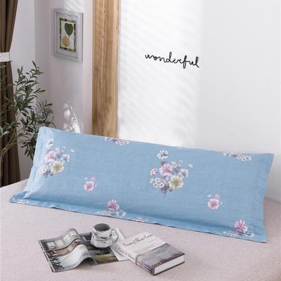 D26-双人枕套-纯棉磨毛双人枕套 120*45cm 蔓然蓝