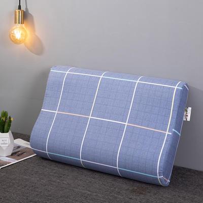 2020新款R02-全棉12868胶枕枕套波浪形乳胶枕套记忆枕枕套 40cmX60cm 蓝色星空-波浪枕套