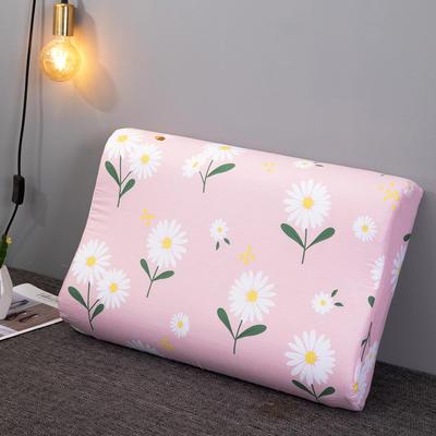 2020新款R02-全棉12868胶枕枕套波浪形乳胶枕套记忆枕枕套 40cmX60cm 轻舞粉-波浪枕套