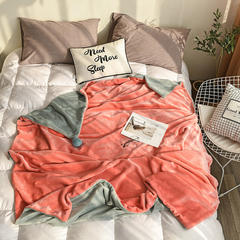 2019新款-法兰绒加厚ins风兔兔球单人双面加绒撞色毛毯 150*200cm 珊瑚橘