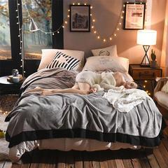 睡美人时尚花边毛毯 150*230cm 太空灰