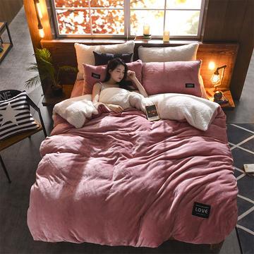 羊羔绒+法莱绒四件套 1.5m(5英尺)床 豆沙红