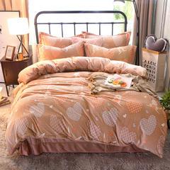 5D雕花绒四件套 1.2m 床 爱心兔子-驼色