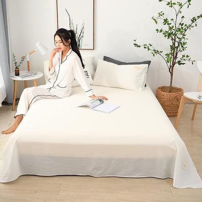 2019新款全棉水洗棉单床单 160cmx230cm 白色