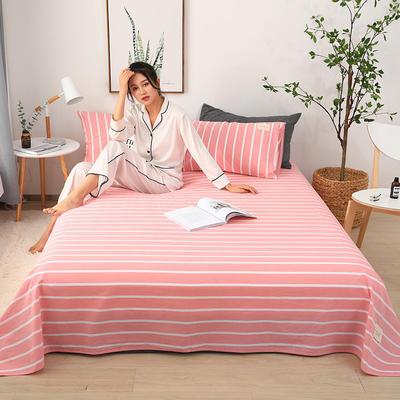 2019新款全棉水洗棉单床单 160cmx230cm 粉白条纹