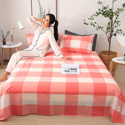 2019新款全棉水洗棉单床单 160cmx230cm 粉小格