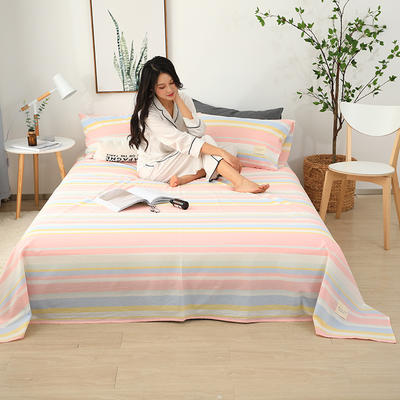 2019新款全棉水洗棉单床单 160cmx230cm 格调粉
