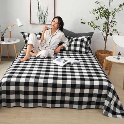 2019新款全棉水洗棉单床单 160cmx230cm 黑白格