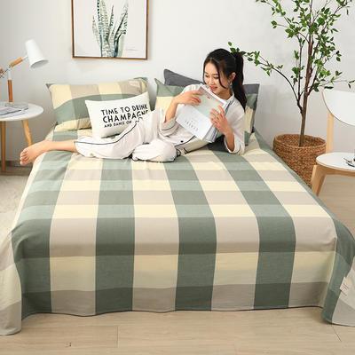 2019新款全棉水洗棉单床单 160cmx230cm 黄绿格