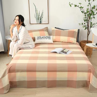 2019新款全棉水洗棉单床单 160cmx230cm 米粉格
