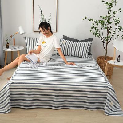 2019新款全棉水洗棉单床单 160cmx230cm 条纹蓝