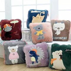 2018新款多功能靠垫抱枕抱枕被 午休毯 折叠毯 110cmx180cm 猴子