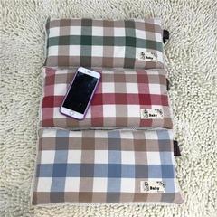 2018新款韩式水洗棉儿童米壳枕 20*35cm 蓝色大方格