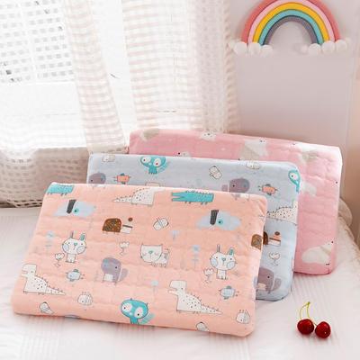 纯天然婴童乳胶枕 双层可调节枕 0-4岁枕头枕芯45×27㎝*2/4cm 蓝/只