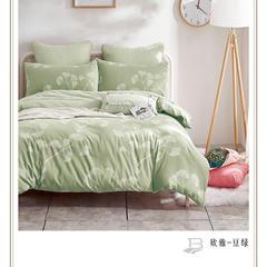 全棉色织水洗提花面料-花香系列 宽幅250cm BL-欣雅-tt 豆绿